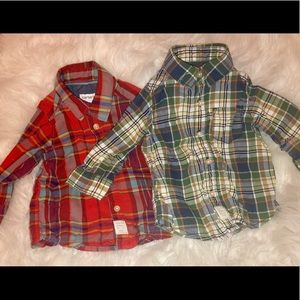🐿 Bundle of 2 button up baby plaid shirts.